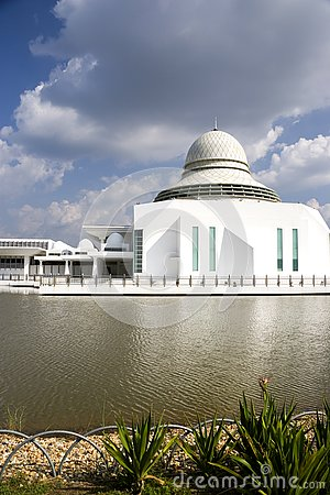 Floating mosque on lake