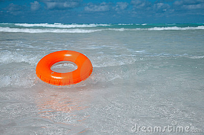Floating  ring on blue clear sea