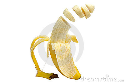 Floating sliced banana