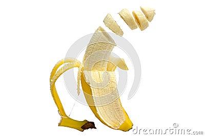 Floating sliced banana