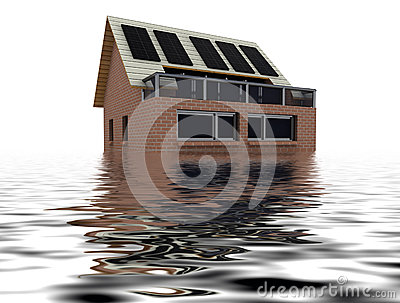Floating sustainable house with solar pannels