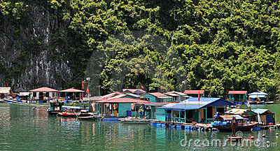 Floating village in Halong bay Vietnam Editorial Stock Photo