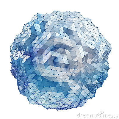 Free Floating White And Blue Glowing Sphere Network 3D Rendering Royalty Free Stock Photography - 88775257