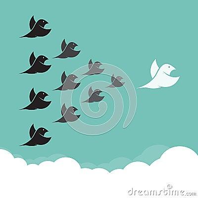 Flock of birds flying in the sky,