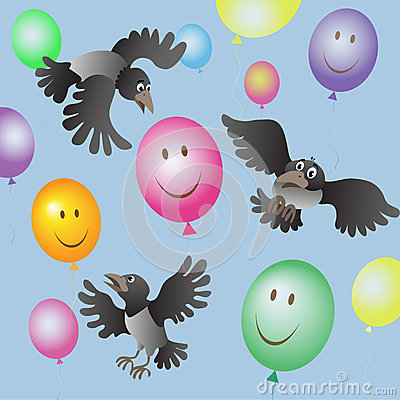 A flock of crows and colored balloons