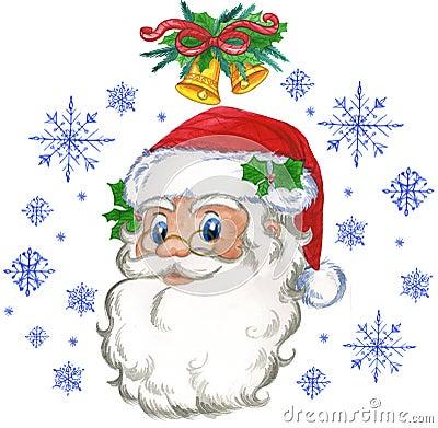 Flocos de Papai Noel e de neve