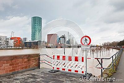 Flood in Frankfurt Editorial Photo