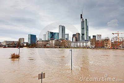 Flood in Frankfurt Editorial Stock Image