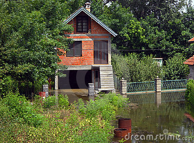 Flood House Surrounded By Water Royalty Free Stock
