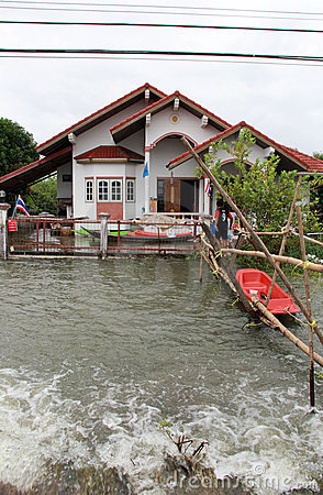 Flood in Lopburi Thailand Editorial Stock Image