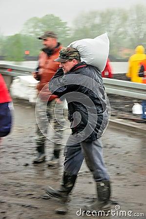 Flood in Poland - Silesia, Zabrze,river Klodnica Editorial Stock Image