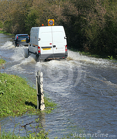 Flood on roads, UK Editorial Stock Image