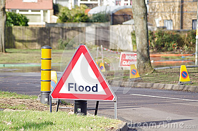 Flood sign Editorial Photo