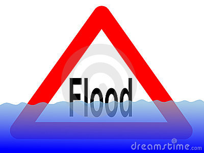 Flood sign with water