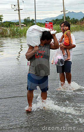 Flood victim in Lopburi Thailand Editorial Photography