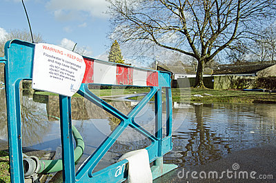 Flood warning sign Editorial Stock Photo