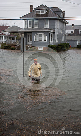 Flood Water in Street Hurricane Sandy Editorial Stock Image