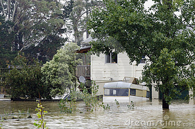 Flood Waters Cover New Zealand Editorial Stock Photo