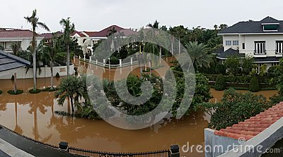 The flood in West Jakarta from above Editorial Stock Photo