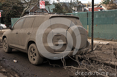 Flooded and abandoned car Editorial Image