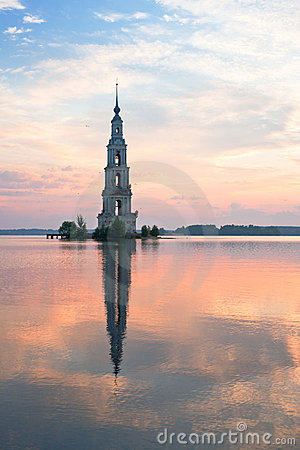 Free Flooded Belltower In Kalyazin At Sunrise Royalty Free Stock Photography - 18834317