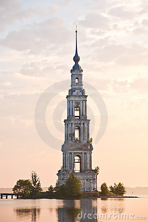 Flooded belltower in Kalyazin at sunrise