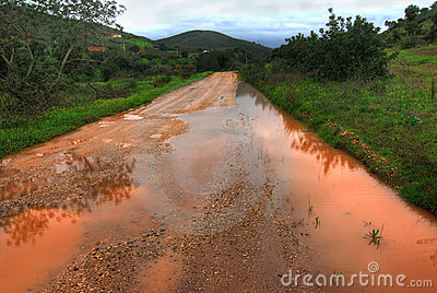Flooded dirt road