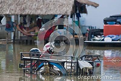 Flooded motorbike in Thailand