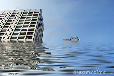 Flooded office blocks
