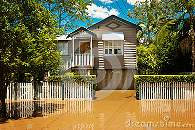 Flooded Queenslander home Editorial Photo