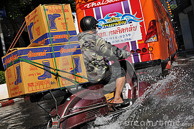 Flooded Road in Bangkok Editorial Stock Image