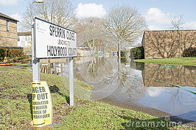 Flooded road, Basingstoke Editorial Stock Photo
