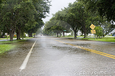 Flooded Roadway Editorial Photo