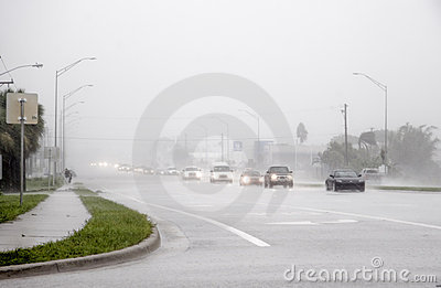 Flooded Roadway Editorial Stock Image