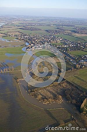 Flooded rural river