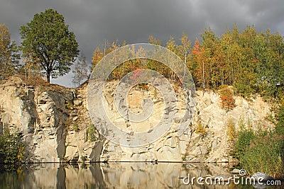 Flooded stone quarry