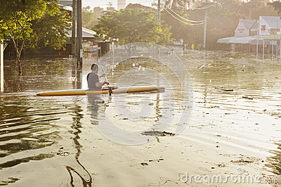 Flooded streets in Brisbane Editorial Stock Photo