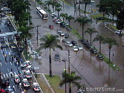 Flooded Streets After Rain Storm Editorial Stock Photo