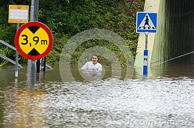 Flooded streets in Sweden Editorial Stock Image
