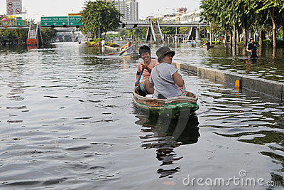 Flooding in Bangkok Editorial Stock Photo