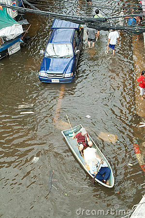 Flooding crisis in Thailand Editorial Photo