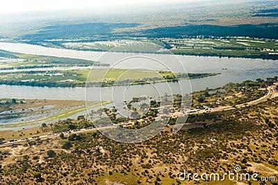 Flooding destroyed street in Botswana