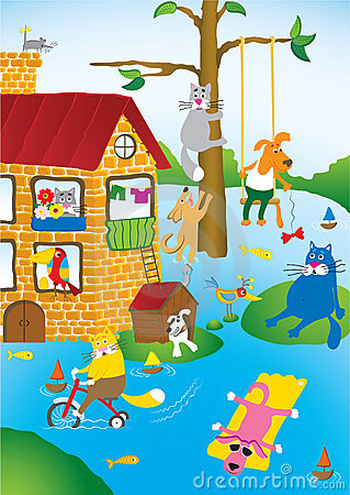 Free Flooding In City Of Pets Royalty Free Stock Photo - 2932235