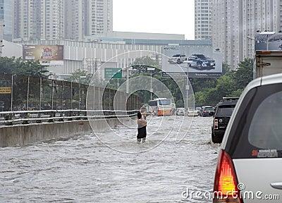 Flooding Jakarta Editorial Stock Image