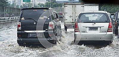 Flooding Jakarta Editorial Stock Photo