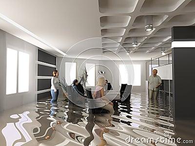 Flooding office