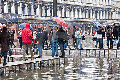Flooding St Marks Square Editorial Stock Image