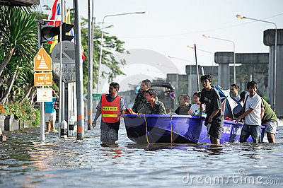 Flooding in Thailand Editorial Stock Photo