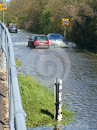 Free Floods. Global Warming. Traffic Disruption. Royalty Free Stock Image - 92543986