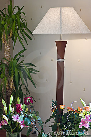 Floor lamp and flowers